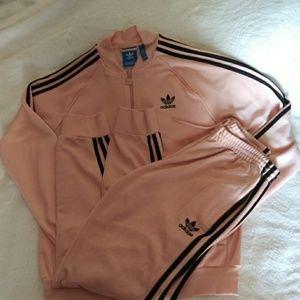 Pale pink retro adidas tracksuit